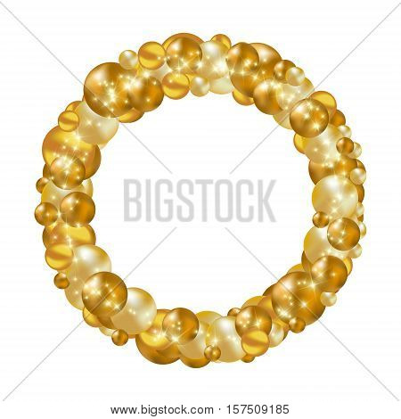 Gold Christmas wreath designed for cover greeting card gift wrapping invitations printings brochure or flyer. Vector illustration