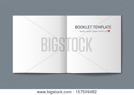 Realistic vector blank white template of square book wit shadow isolated on white background for design portfolio demonstration