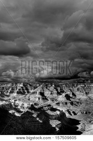 Cloudy day Late afternoon in the Grand Canyon Arizona