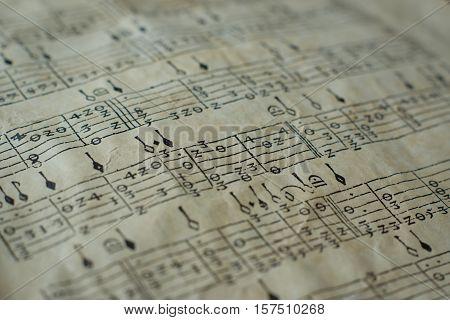 Close Up Of Old Spanish Lute Tabulatur