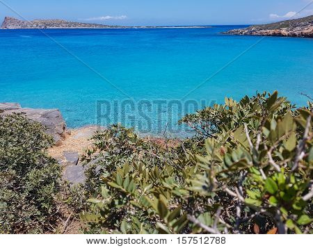 Gorgeous Cretan Sea. Seascape of blue water, the beauty of nature.