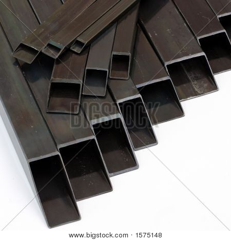 Rectangular Welded Steel Pipes On White Background