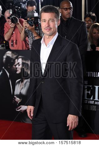 LOS ANGELES - NOV 09:  Brad Pitt arrives to the 'Allied' LA Red Carpet Fan Event on November 09, 2016 in Westwood, CA