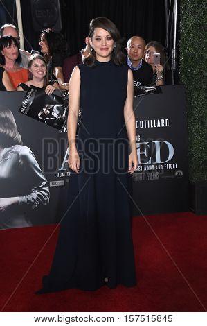 LOS ANGELES - NOV 09:  Marion Cotillard arrives to the 'Allied' LA Red Carpet Fan Event on November 09, 2016 in Westwood, CA