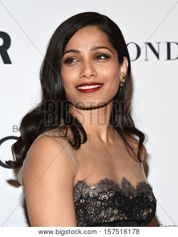 LOS ANGELES - NOV 14:  Freida Pinto arrives to the Glamour Celebrates Women of the Year Awards 2016 on November 14, 2016 in Hollywood, CA