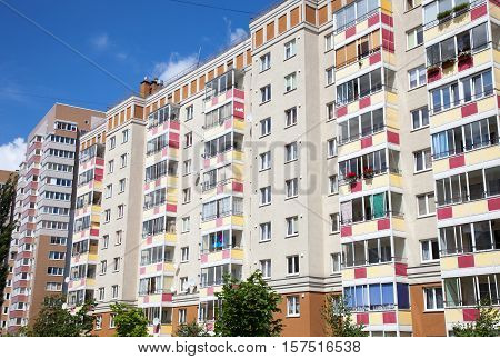 Apartment Buildings in Kaliningrad (Russia). Blue Sky.