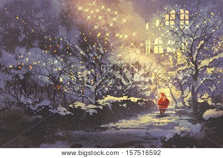 Santa Claus in snowy winter alley in the park with christmas lights on trees, illustration painting