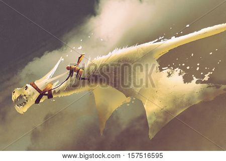 man riding on the white flying dragon against a cloudy sky, illustration painting
