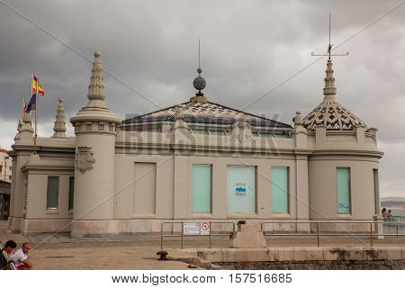 SANTANDER SPAIN - AUGUST 19: Jetty office called palacete del embarcadero on August 19 2016