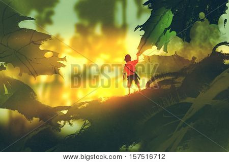 little boy standing on giant leaves looking sunlight, illustration painting