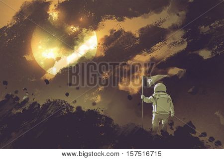astronaut with a flag standing on mountain against a cloudy sky and a sun, illustration painting