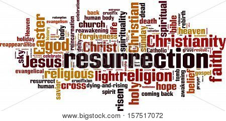 Resurrection word cloud concept. Vector illustration on white