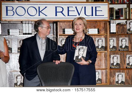HUNTINGTON, NY-AUG 6: Store owner Richard Klein (L) and former U.S. Secretary of State Hillary Clinton at the book signing of 'Hard Choices' at The Book Revue August 6, 2014 in Huntington, NY.
