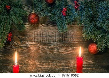 Background with christmas decorations and blue highlight