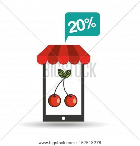 tasty cherry discount shop online icon vector illustration eps 10