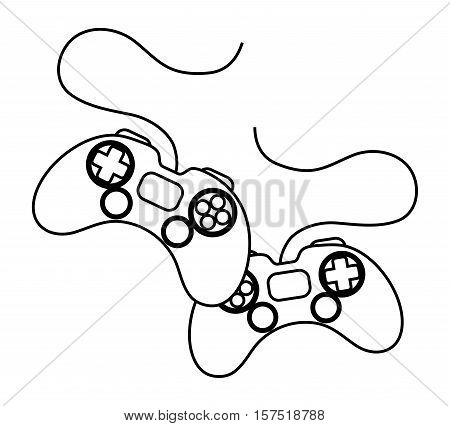 Videogame control silhouette icon. Game play leisure gaming and controller theme. Isolated design. Vector illustration