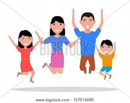 Vector illustration cartoon jumping of happiness family. Parents and their children leap with joy. Image isolated on white background. Flat style. Mother, father and babies rejoice.
