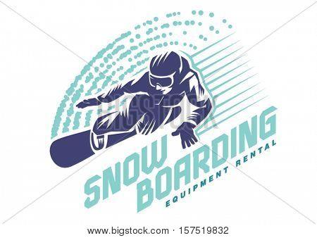 Snowboarder in motion. Sport emblem