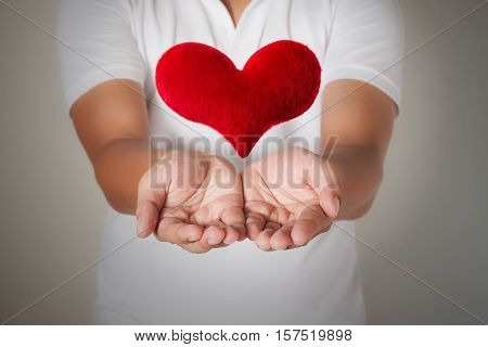 red heart in asian man hands,health- medicine and charity concept