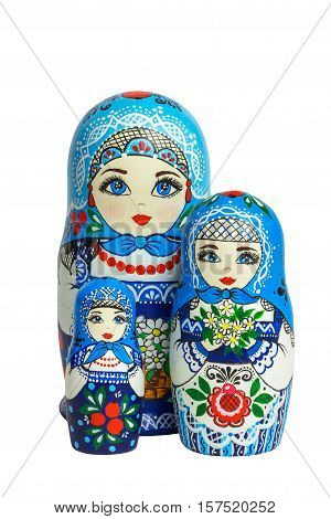 Three traditional Russian matryoshka dolls. Painted matryoshka. Matryoshka blue3 composite.