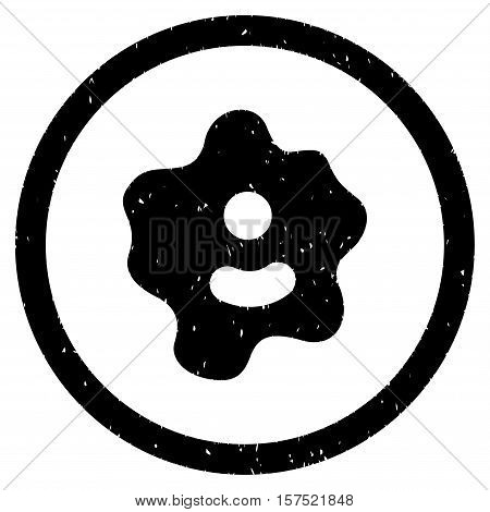 Ameba grainy textured icon inside circle for overlay watermark stamps. Flat symbol with dirty texture. Circled dotted vector black ink rubber seal stamp with grunge design on a white background.