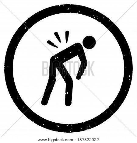 Backache grainy textured icon inside circle for overlay watermark stamps. Flat symbol with dust texture. Circled dotted vector black ink rubber seal stamp with grunge design on a white background.