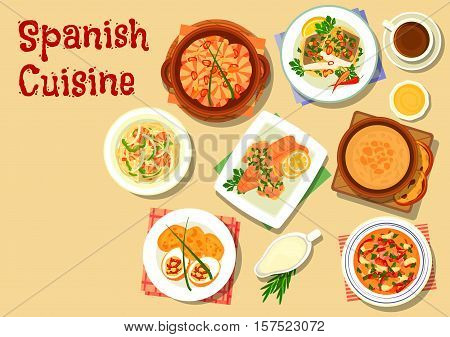Spanish cuisine seafood noodle icon served with garlic shrimp, tomato soup gazpacho, garlic soup, bean stew with chorizo and ham, trout stew with ham, stuffed egg with sausage