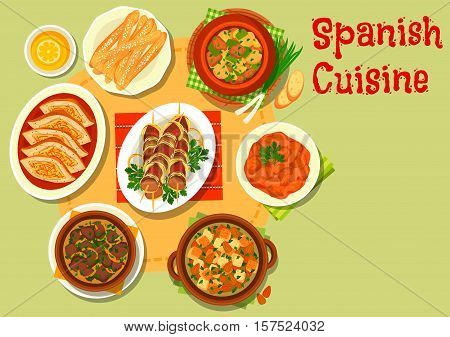 Spanish cuisine pork tomato stew icon, served with almond soup, liver in garlic onion sauce, grilled lamb kidney on stick, stuffed pork belly, lamb vegetable stew, fried cookie churros