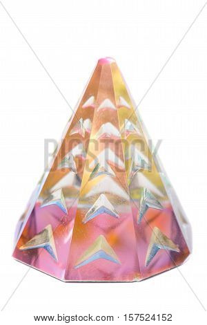 crystal prism with refractions of light isolated on pure white background