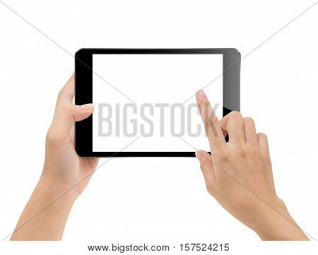 close-up hand using tablet isolated on white clipping path inside mock-up digital black tablet