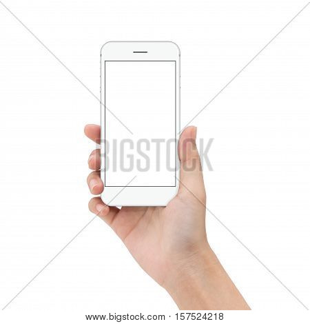 close up hand hold phone isolated on white mock-ups phone white color blank screen