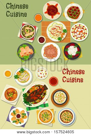 Chinese cuisine dinner icon with rice, baked fish with vegetable, noodle, daikon, cabbage salads, shrimp spring roll, soups with chicken, rice, beef, fish, beef tongue, squid ring, cucumber with pork