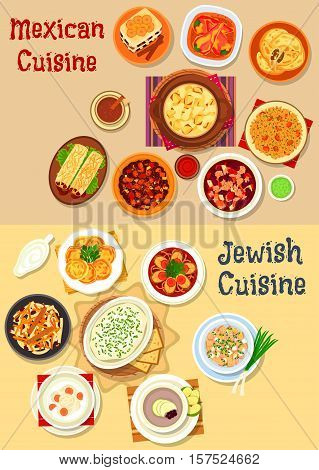 Mexican and jewish cuisine icon with vegetable chili, cheese, bean beef stew, fish, forshmak, bean burrito, fish soup, cutlet, chicken salad, stuffed pepper, tomato rice, bread pudding, carrot dessert