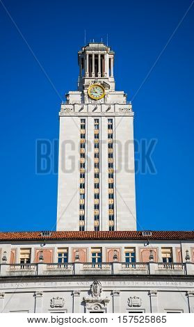 Clock Tower at Austin Texas USA Main Building of University on Campus the UT Tower stands tall during a sunny morning in Summer