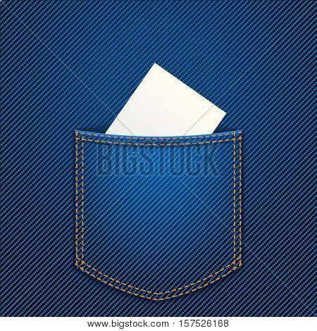 illustration of white paper in blue jeans pocket