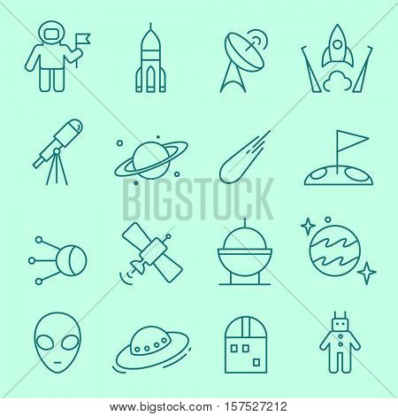 Space icons, thin line, flat design