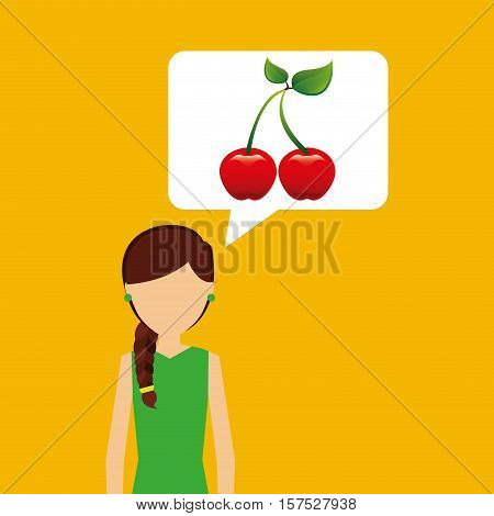 character shopping cherry fruit nature vector illustration eps 10