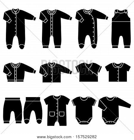 Icon set children's clothes for newborn baby girl or boy. Overalls shirt rompers pants and baby's loose jacket. Collection of black clothing on white background. Vector illustration.
