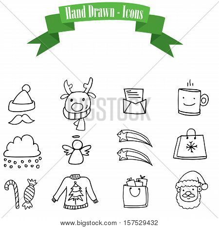 Collection stock icons of Christmas vector illustration