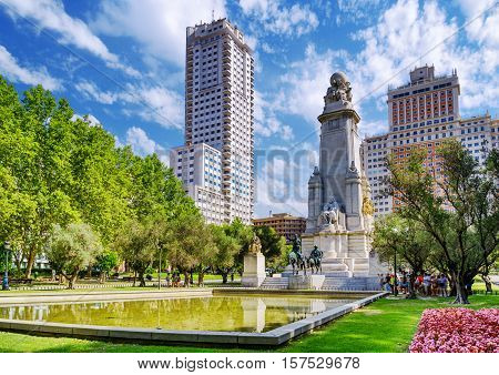 The Cervantes Monument, The Tower Of Madrid (torre De Madrid) And The Spain Building (edificio Espan