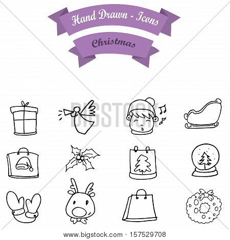 Hand draw Christmas icon set collection stock