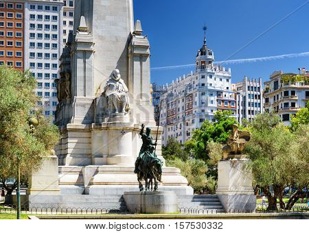 View Of The Cervantes Monument On The Square Of Spain (plaza De Espana) In Summer Time In Madrid