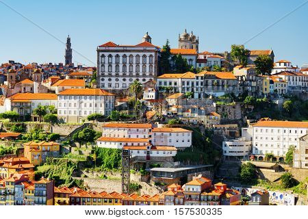 Beautiful View Of The Historic Centre Of Porto City. The Porto Cathedral Is Visible On The Blue Sky