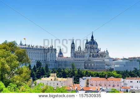 Beautiful View Of The Royal Palace Of Madrid And The Cathedral Of Saint Mary The Royal Of La Almuden