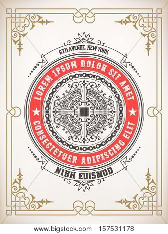 Premium Quality card. Baroque ornaments and floral details. Organized by layers.