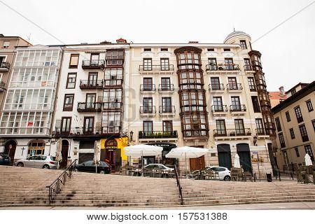 SANTANDER SPAIN - AUGUST 19: View of typical building of Santander on August 19 2016