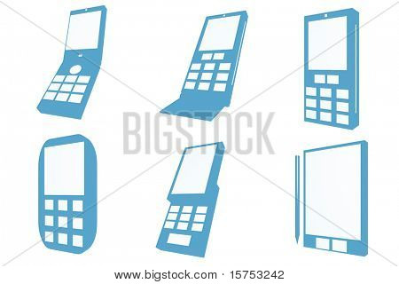 Mobile Phones Icons and Types on white background
