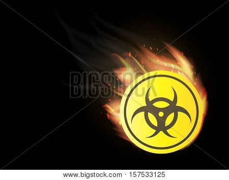 a yellow radioactive with fire burning logo
