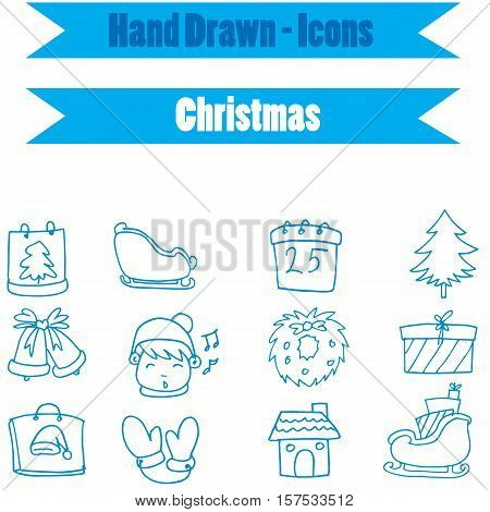 Collection stock Christmas icon vector art illustration