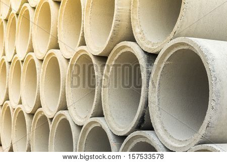 Close Up Stack Of Concrete Drainage Pipes
